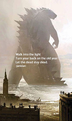 Godzilla New Year's haiku