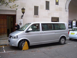 Clamped van outside Cadogan hall.
