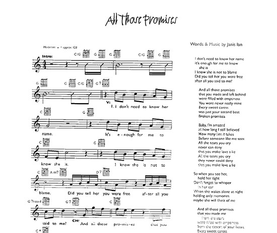 All Those Promises - Sheet Music (Guitar)
