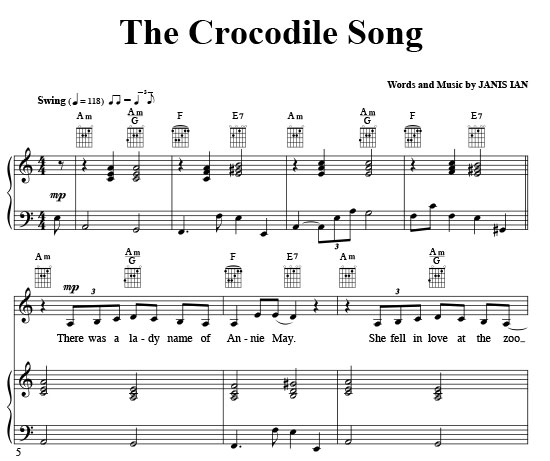 Crocodile Song, The - Sheet Music