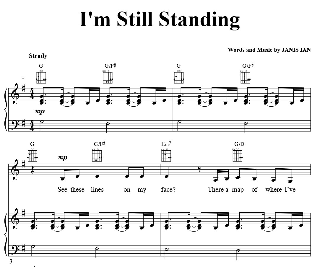 Im Still Standing Sheet Music In G