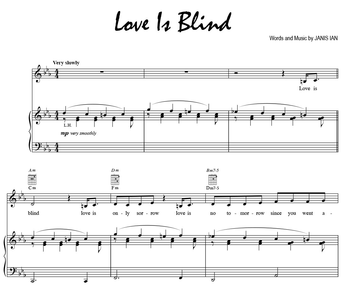 Love Is Blind - Sheet Music (vocal line, lyric, guitar chords, diagrams)